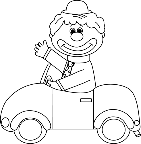 image freeuse Clown Car Black And White Clipart