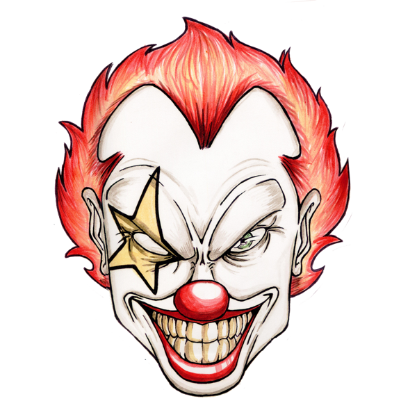 clip transparent download Clown clipart scary. Deranged twisted psychotic lunatic.