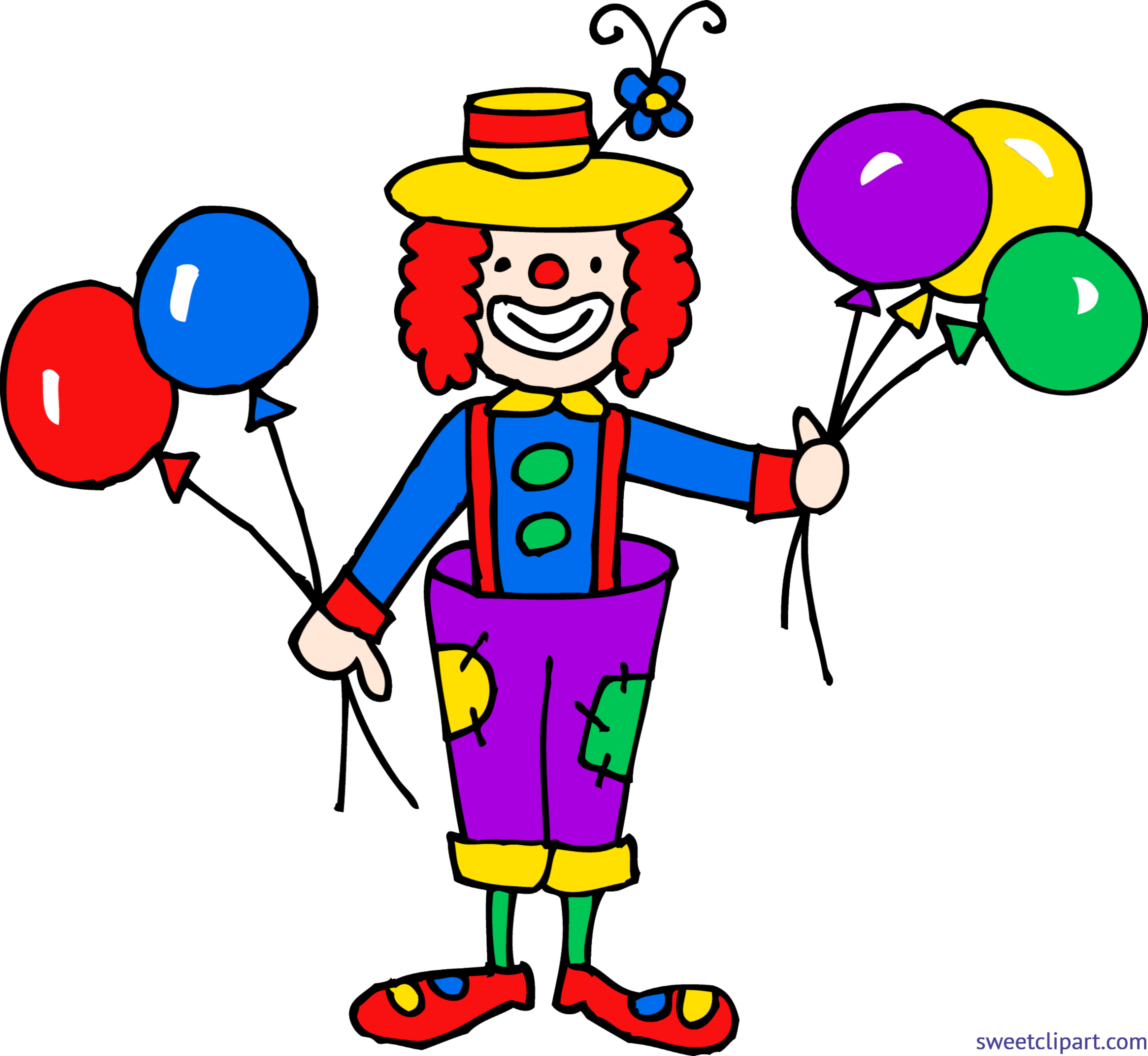clip freeuse download Cute with balloons clip. Clown clipart