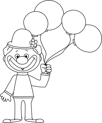 png library stock Black and White Clown with Balloons Clip Art
