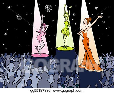 clip art black and white stock Vector art dance gg. Club clipart drawing.