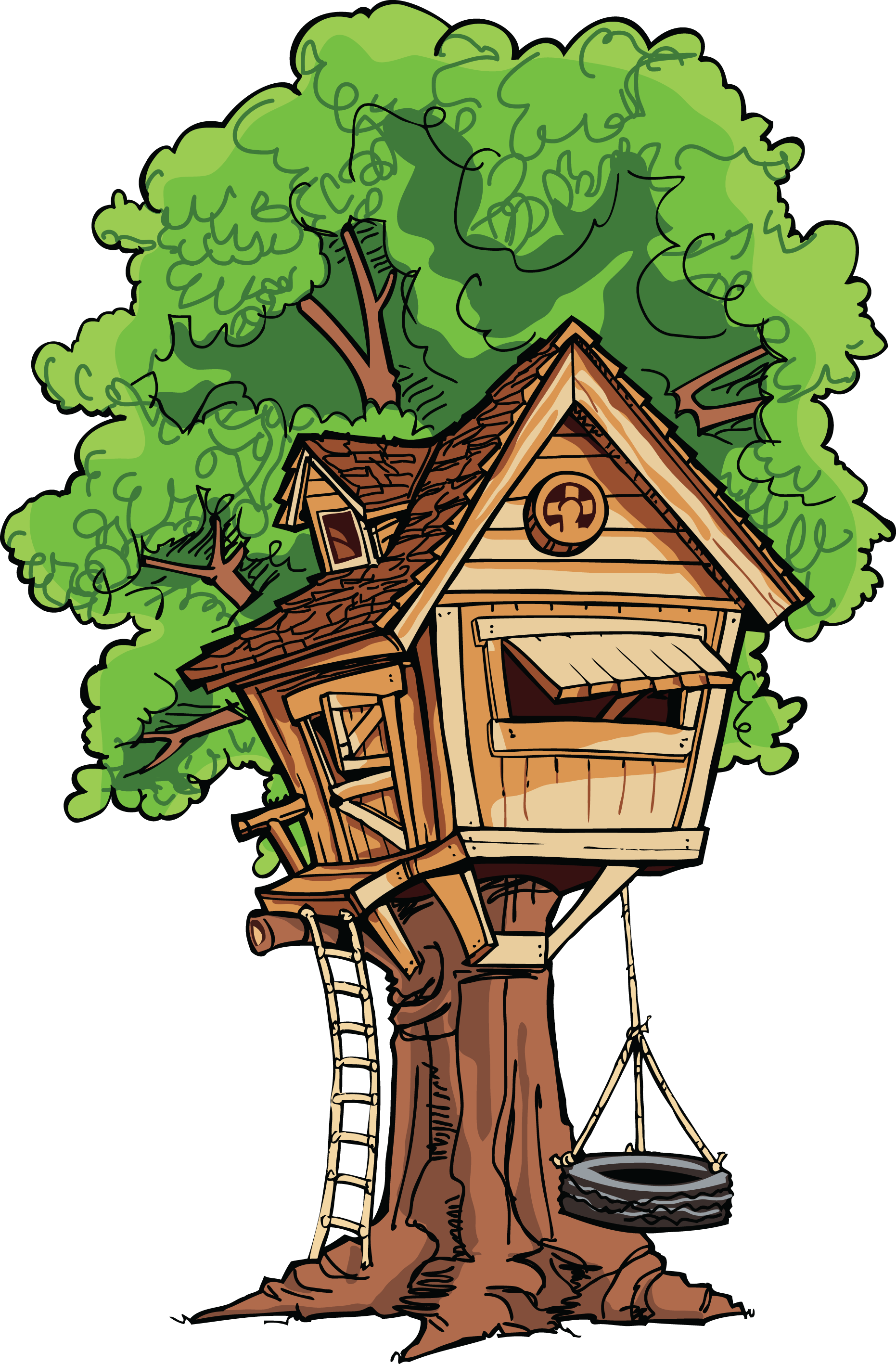 picture transparent download Yard clipart cute cottage. Tree house clip art.
