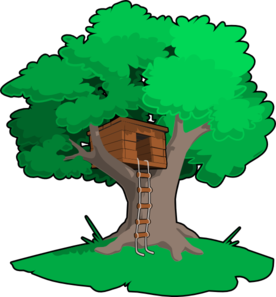 vector black and white library Tree House clip art