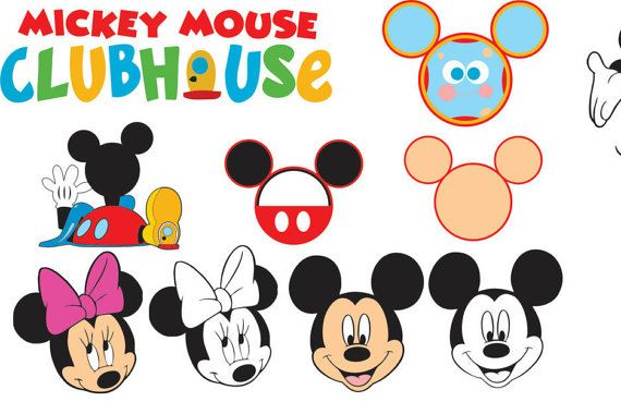 clip black and white stock Mickey mouse for cricut. Clubhouse clipart svg.
