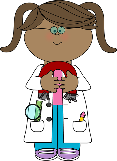 clip black and white stock Kid scientist with a. Science kids clipart