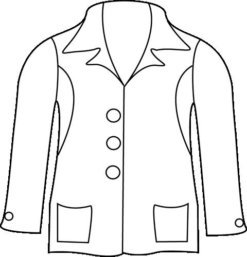 jpg black and white Coat clipart summer. Black and white jacket.