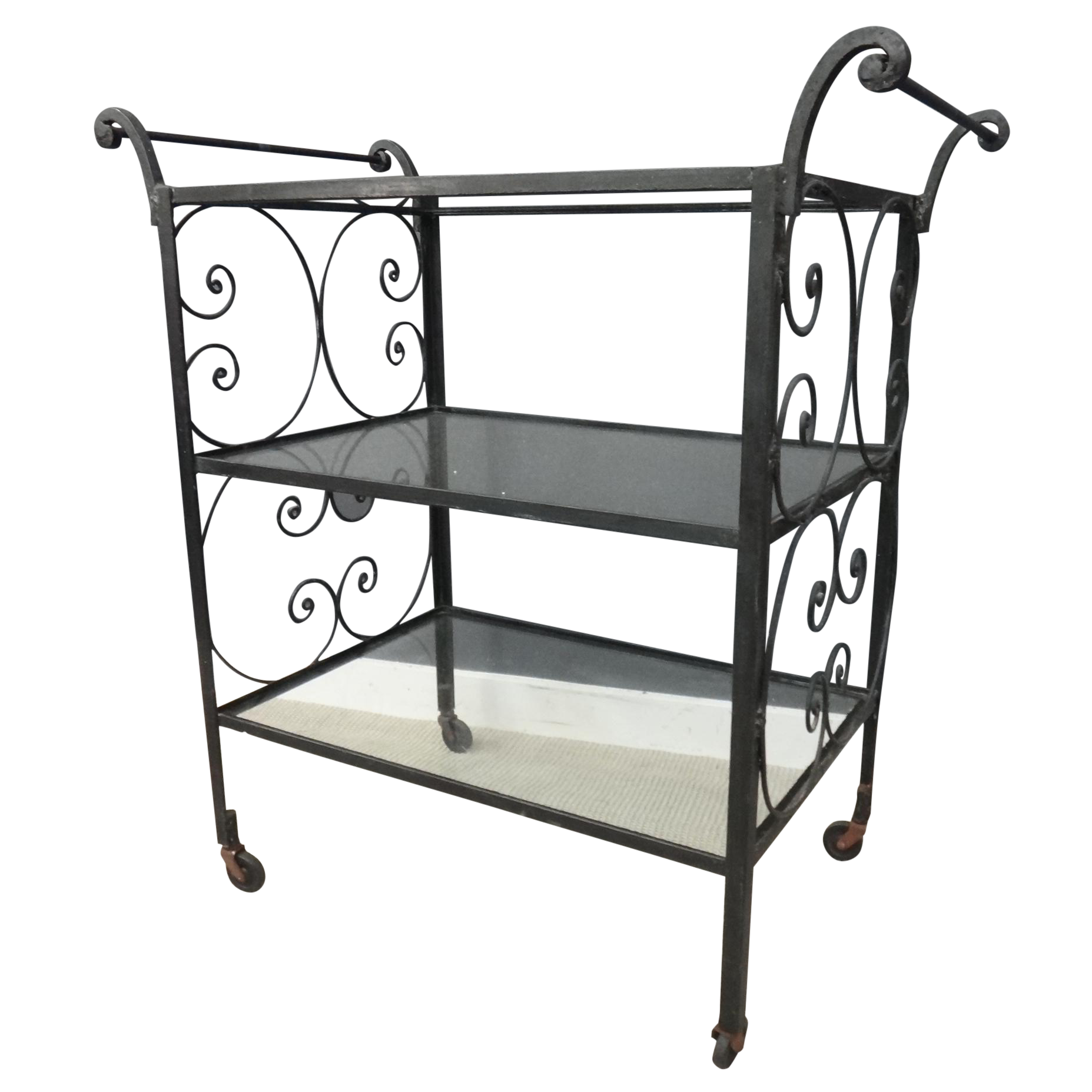 clipart transparent library Vintage Wrought Iron and Glass Bar Cart