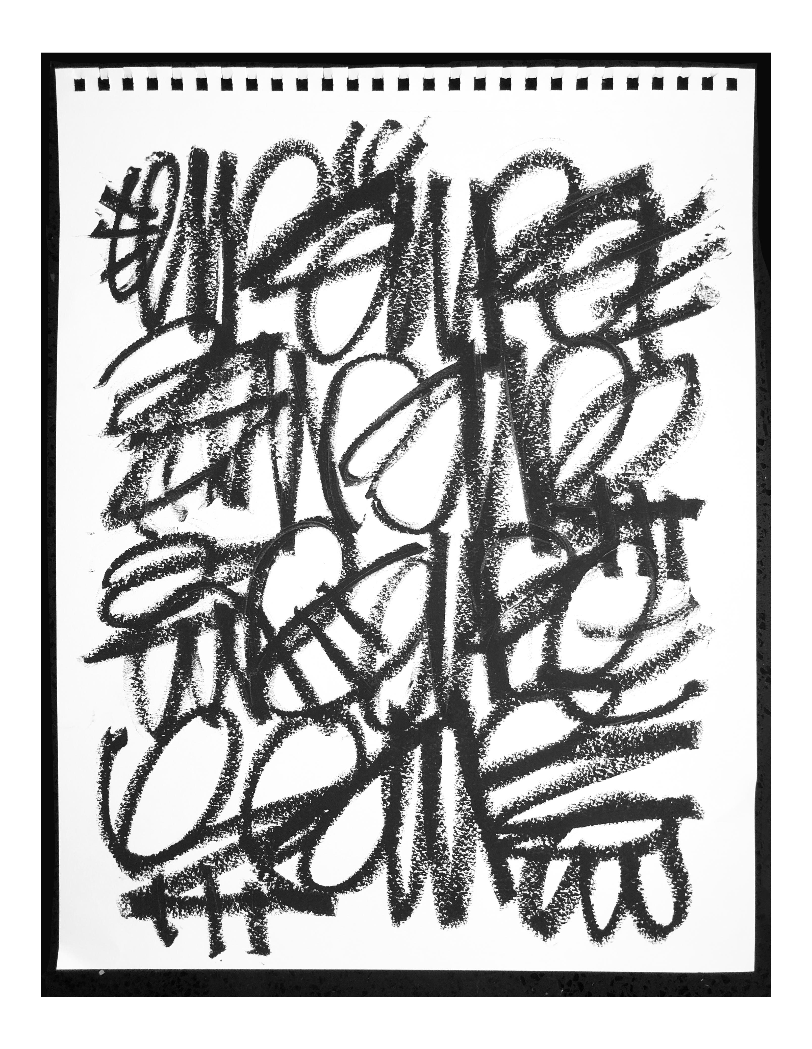 transparent Alic Daniel Black Chalk Scribble Drawing