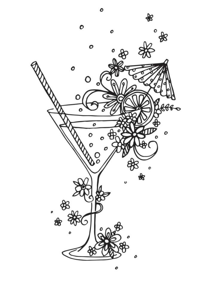 picture black and white stock Claire mcelfatrick linework zentangle. Cocktail drawing coloring