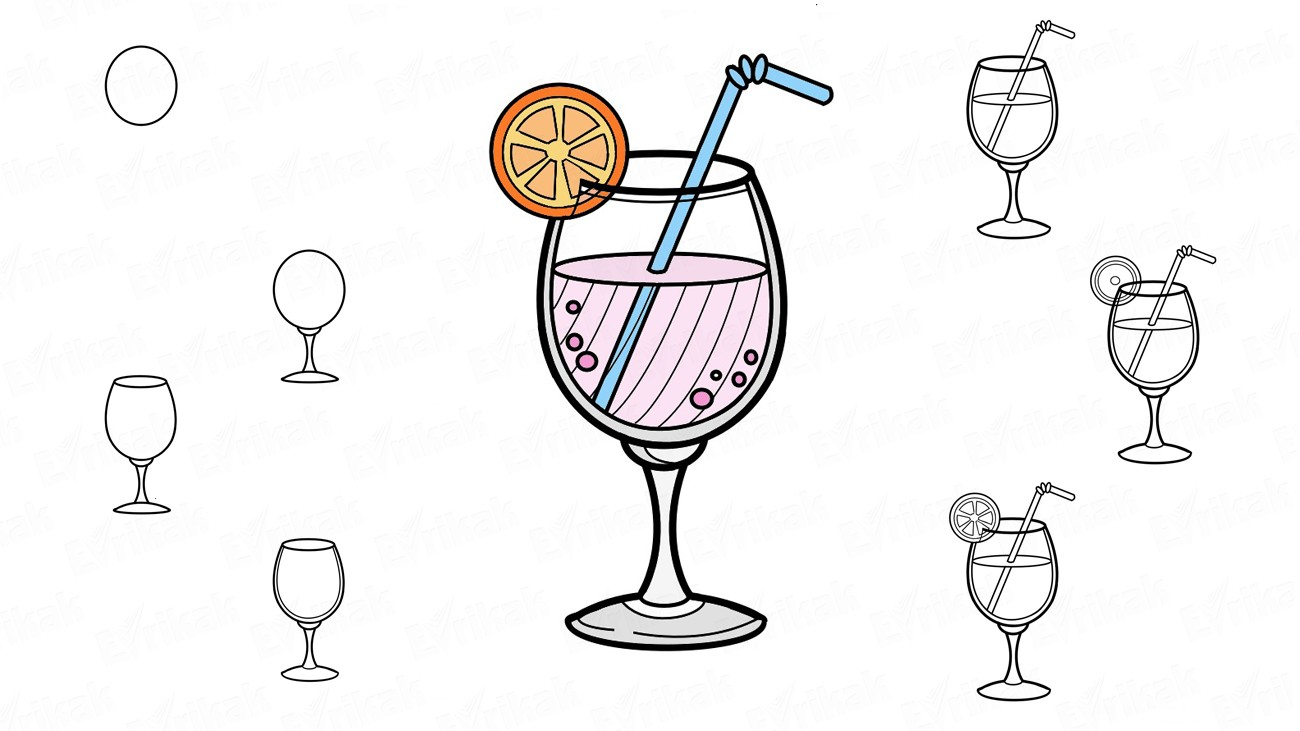 clip black and white library Cocktail drawing coloring. Learn to draw a