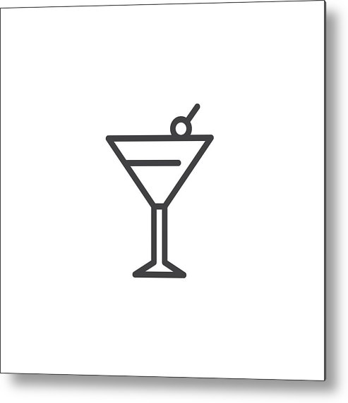 clipart free library Margarita Cocktail Drink Outline Icon Metal Print