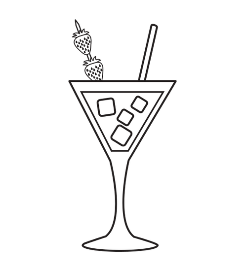 clipart black and white Tropical Cocktail Cup