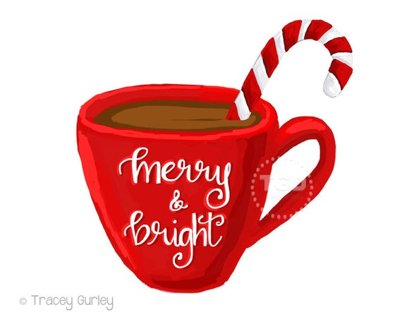vector transparent Merry and bright hot. Cocoa clipart