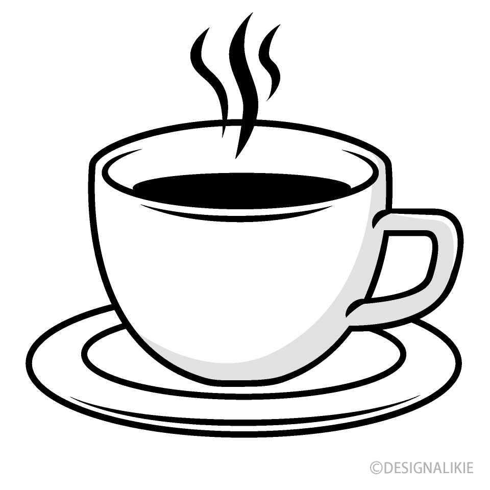 clip art transparent library Black and white picture. Coffee cup clipart free