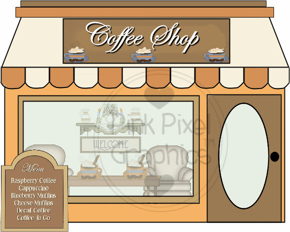 banner transparent library Coffee shop clipart free.  clipartlook