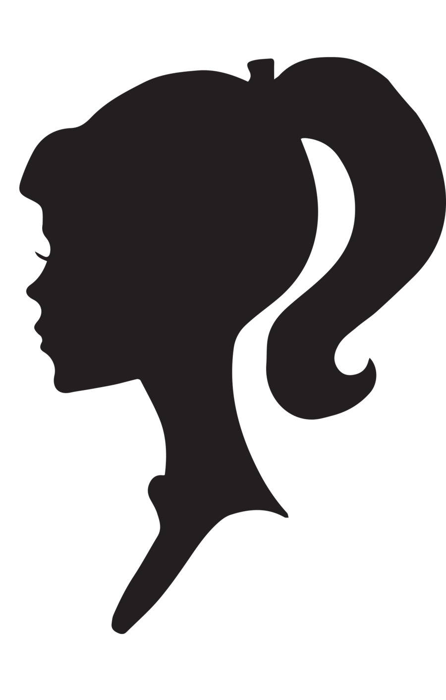 svg freeuse library Drawing silhouette messy bun. Coffin clipart free on