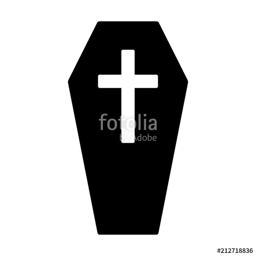 image freeuse download Coffin for the dead or casket with cross flat vector icon