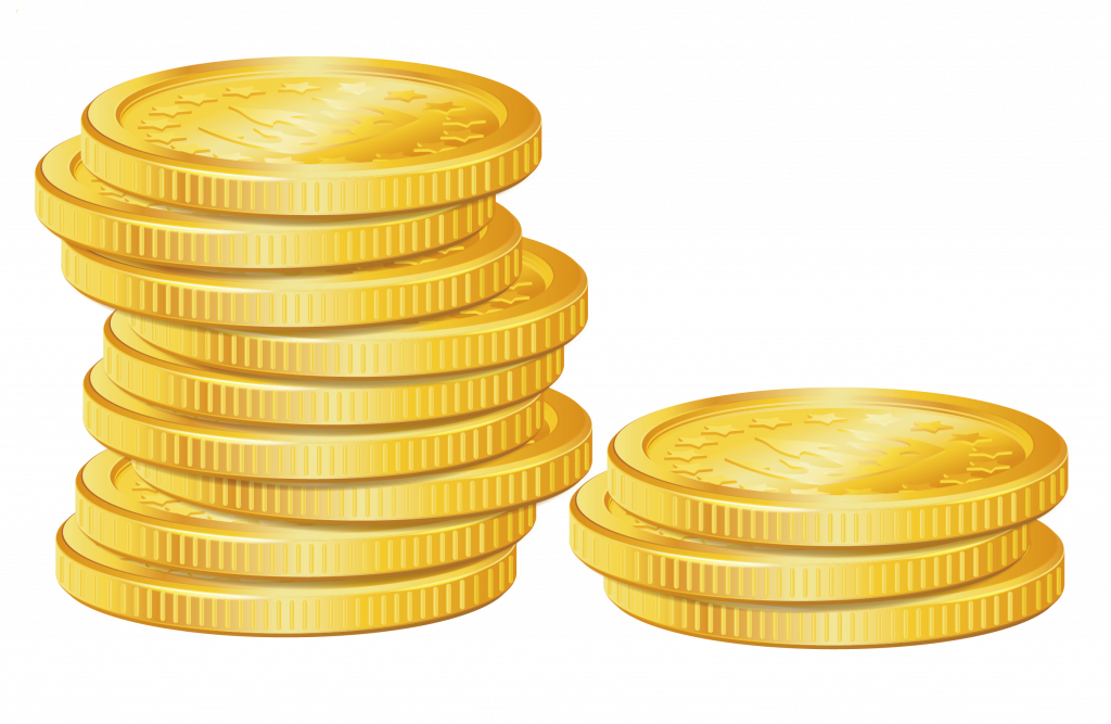 black and white stock Golden clipart stacked coin. Unique stack of gold