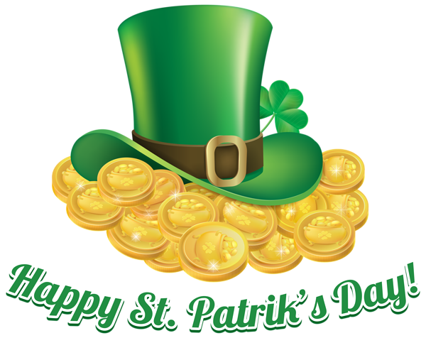 picture black and white download St Patricks Day Coins and Hat Transparent PNG Clip Art Image