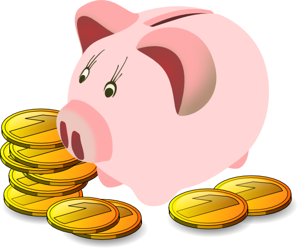 freeuse stock Bank With Coins clip art