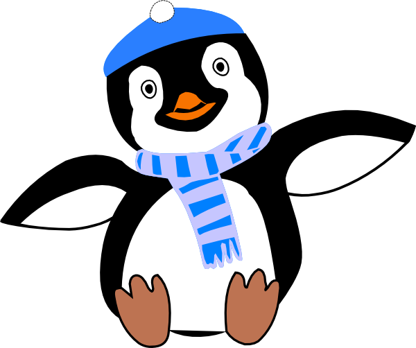 svg Penguin Wearing Hat And Scarf Clip Art at Clker