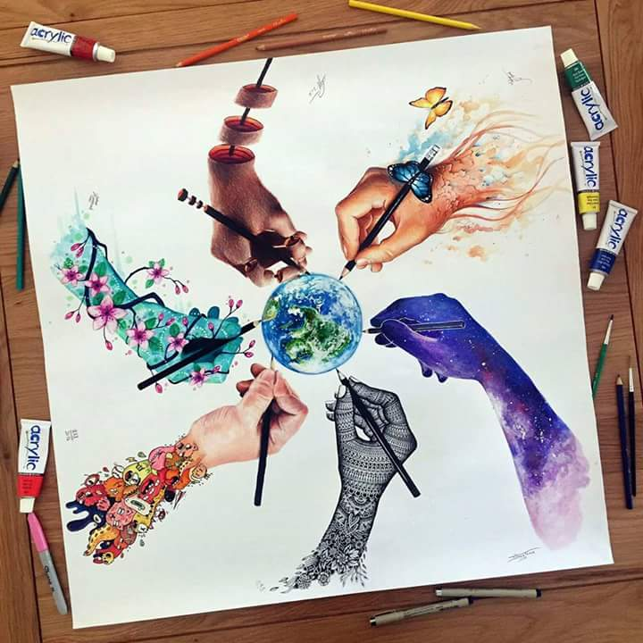 image royalty free Collaboration drawing. Artistic world vexx art