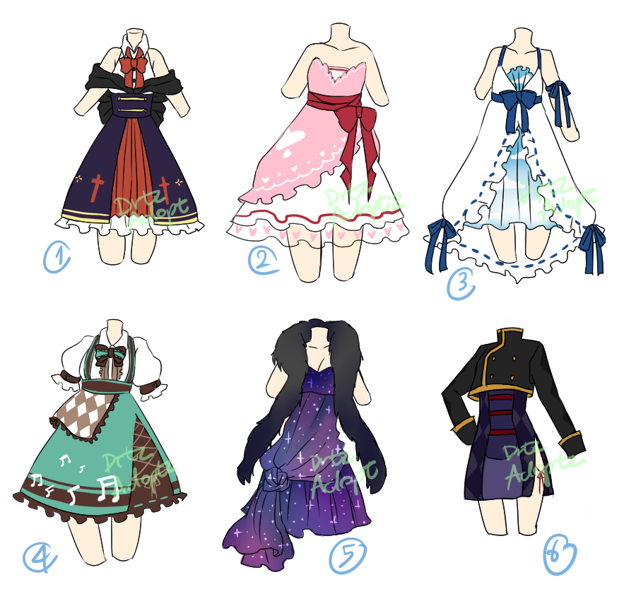 vector freeuse library Drawing random clothing. Adoptable dresses open by