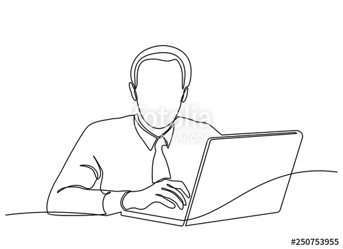 clipart download continuous line drawing of a man looking for ideas in front