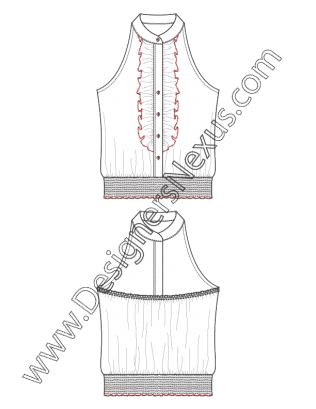 clipart royalty free Drawing ruffles illustration. Fashion top flat sketch