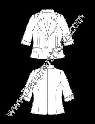 picture freeuse download Fashion Blazer Flat Sketch V