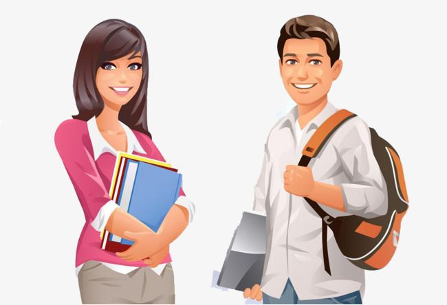 svg royalty free download College students clipart. Male and female cartoon
