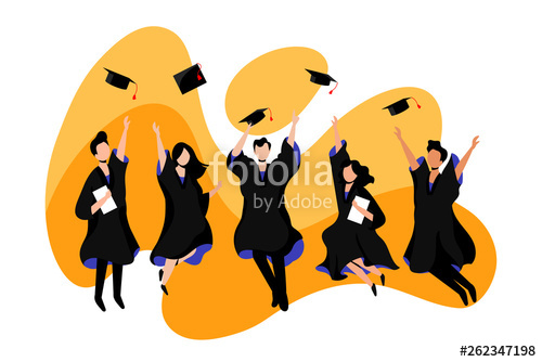 banner black and white stock Students graduate from university. College vector
