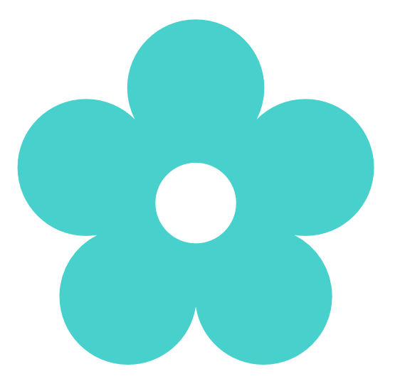 png royalty free download Color clipart turquoise. Retro flower colour medium