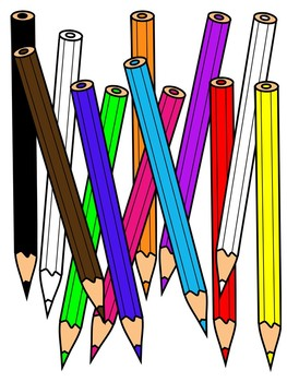 image royalty free download Colored clipart. Pencils color and black