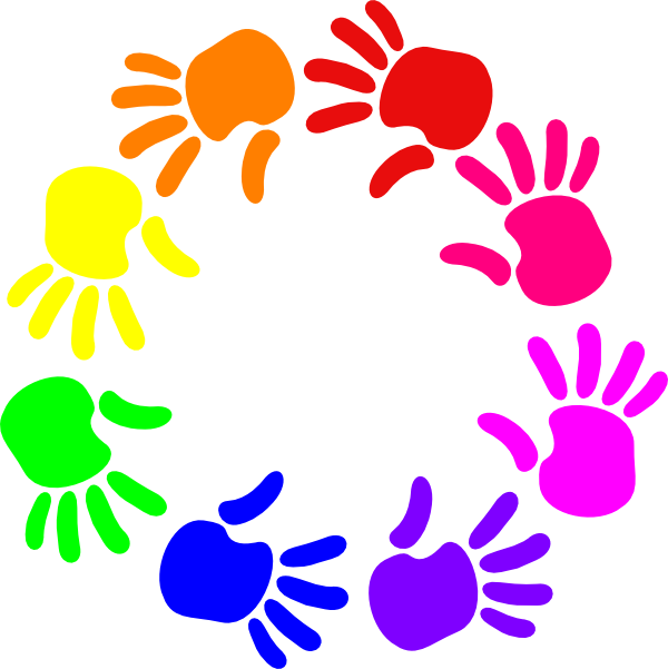 graphic freeuse download Colorful clipart. Circle of hands clip.