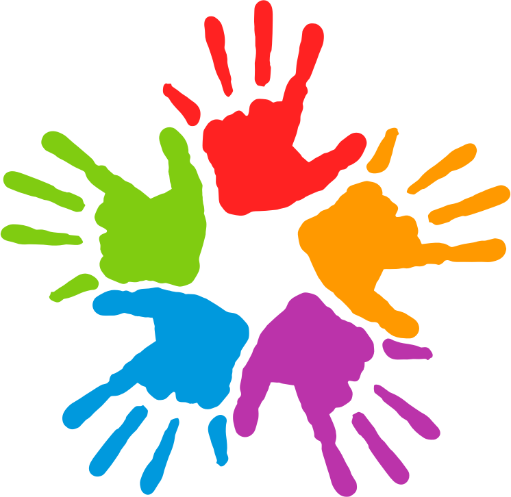 svg royalty free stock Unity clipart. Free five colorful hands