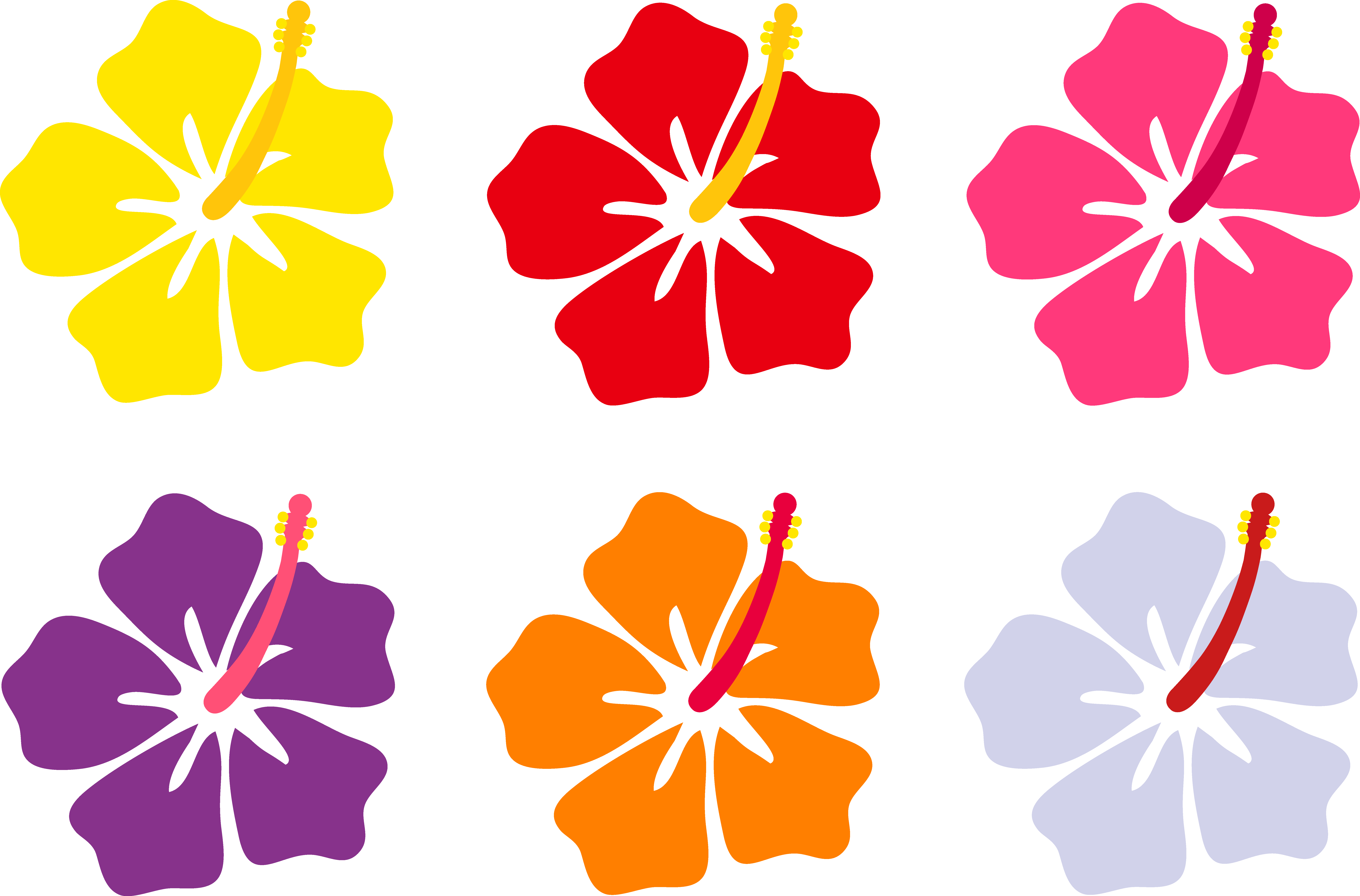 clipart royalty free library Hibiscus flowers in six. Tiki clipart banner.