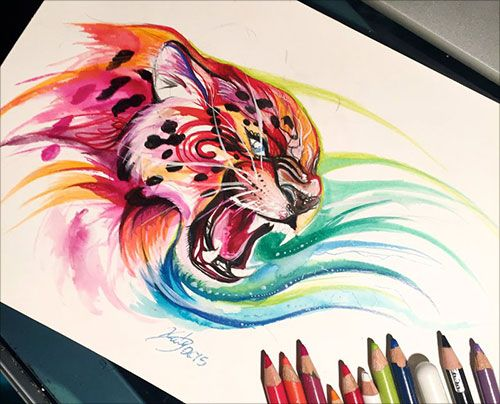 vector transparent stock  inspiring color pencil. Colorful drawing animal