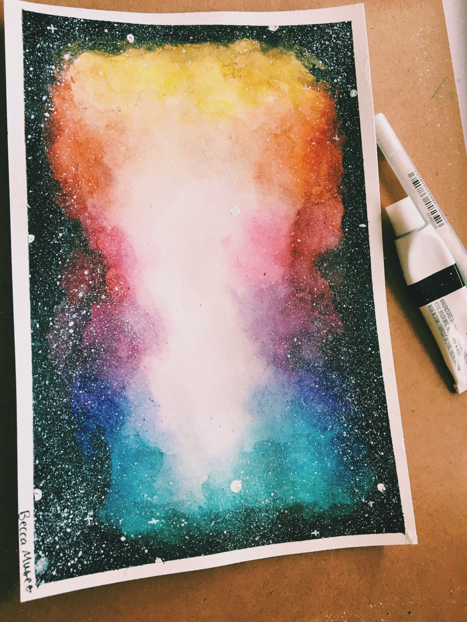 graphic free Drawing rainbows galaxy. Rainbow watercolor ink color
