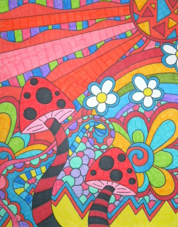 clipart transparent stock Drawing rainbows hippie. Rainbow psychedelic mushrooms and