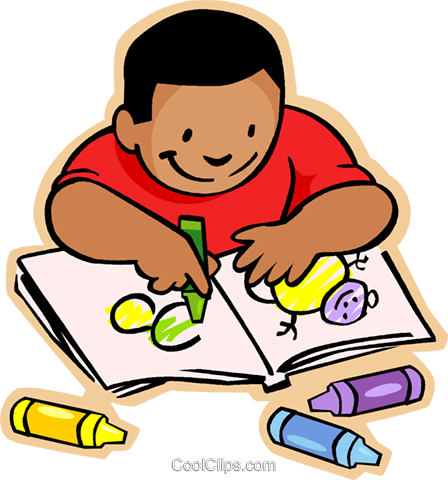 clip library download Coloring Book Clipart Little Boy With Crayons And Colouring Pages