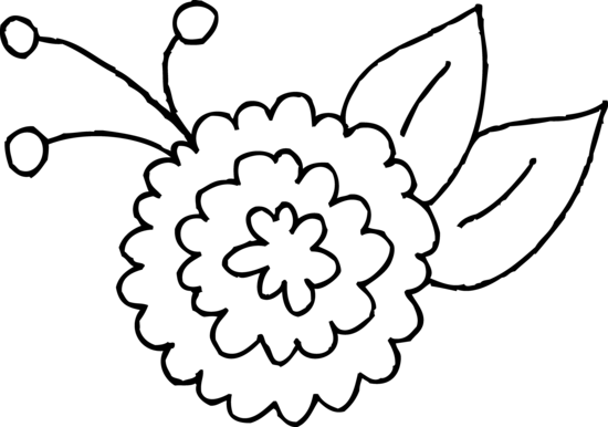 graphic black and white stock Cute flower coloring free. Page clipart spring.