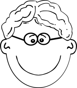 royalty free library Boy wavy glasses clip. Hair clipart black and white