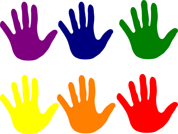clipart black and white stock colorful handprint clipart #64495426
