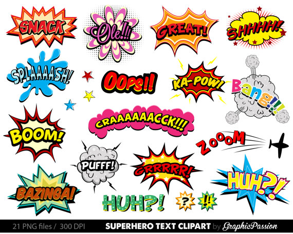 png free stock Superhero bubbles speech . Comic clipart.