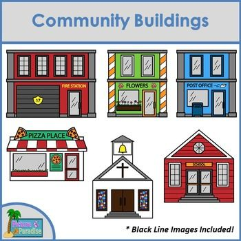 image library download Supermarket clipart community place. Buildings clip art for