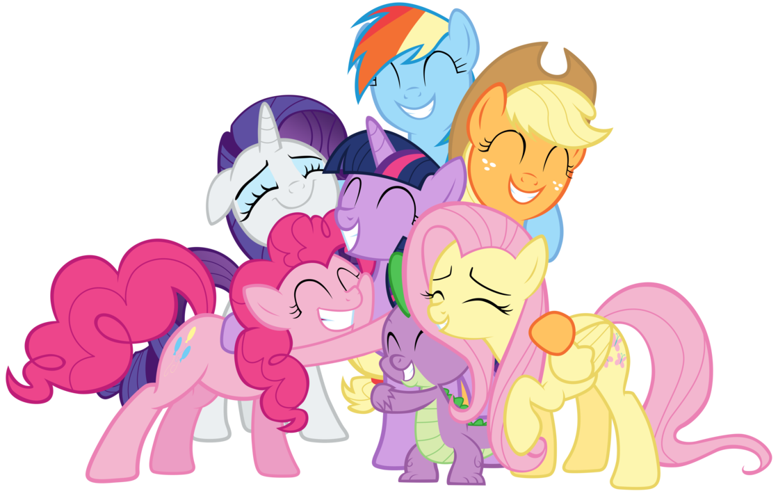 vector free library Mane Six and Spike group hug by Tardifice on DeviantArt