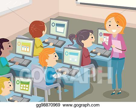 vector library download Vector computer class room. Art stickman kids lab