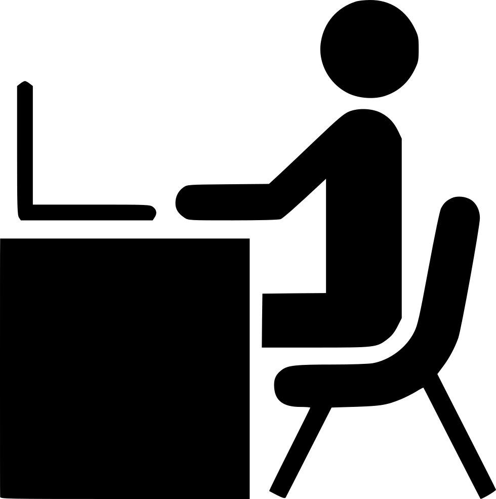 picture freeuse library Man Desk Working Laptop Computer Office Work Person Svg Png Icon