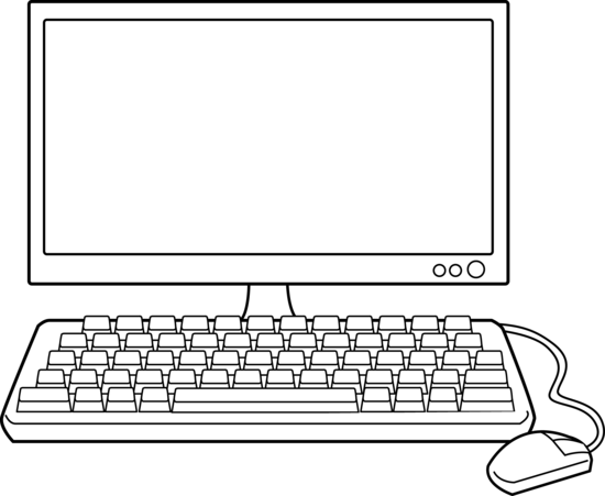 svg Computer black and white. Computers clipart